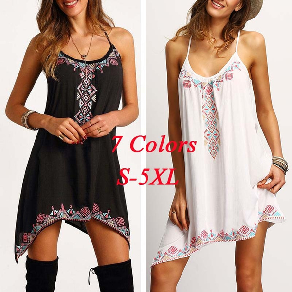 Picture of Sleeveless Lace Up O-neck Floral Printed Women's Asymmetric Beach Dress S-3xl