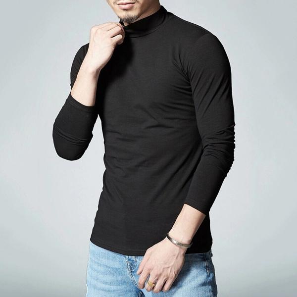 81db46b2 Unbalance Turtle Shirring Pocket Long Sleeve T Shirt Mens Fashion ...