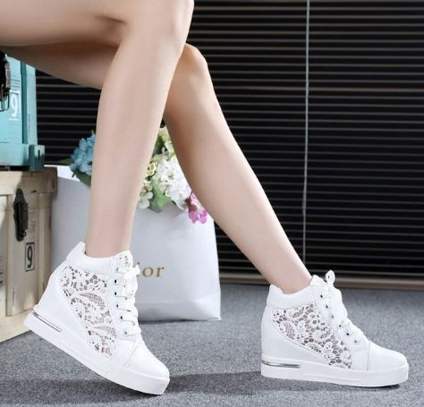 Picture of Jun Fashion Casual White Lace Shoes Increased Within Shoes Sneakers