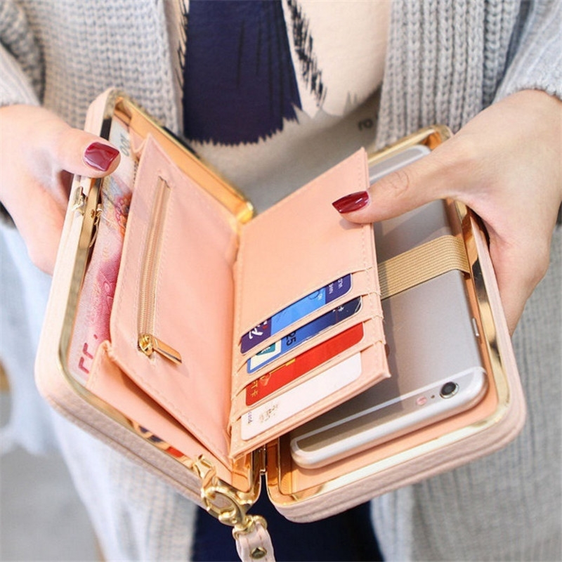 Picture of Large Capacity Women Bowknot Wallets Bow Tie Pocket Long Section Zipper Purse Phone Card Holder Clutch Wristlet
