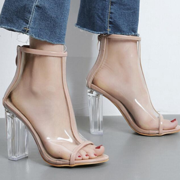 afb141ed800 Women PVC Clear Heel Transparent Boots Peep Toe Ankle Boots Bootie High Top  Summer Shoes Sandals Block Heel Pumps