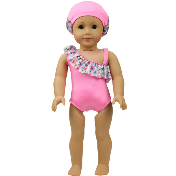 Cute Pink Swimwear Swimsuit with Swim Hat Outfit for 18/'/' Doll