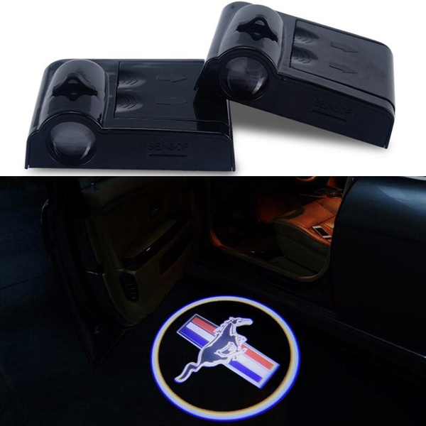 2 Mustang Logo Wireless Car Door Welcome Laser Projector Shadow LED Light Emblem