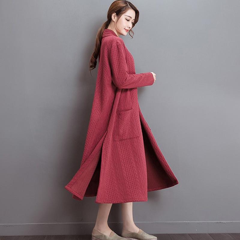damen baumwolle linien mischung lang rmlig kleid damen vintage strickjacke rote ebay. Black Bedroom Furniture Sets. Home Design Ideas