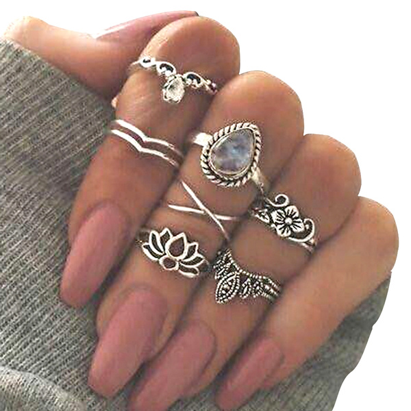 Picture of 7pcs/set New Arrival Flower Gemstone Carved Ring Set Bohemian Vintage Jewelry Women Accessories