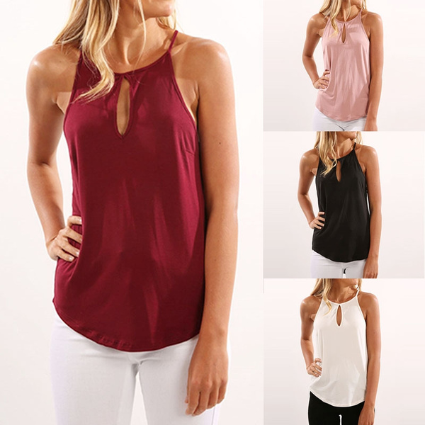 Picture of Sexy Sleeveless Women's Tops With Keyhole Under The Collier Collar