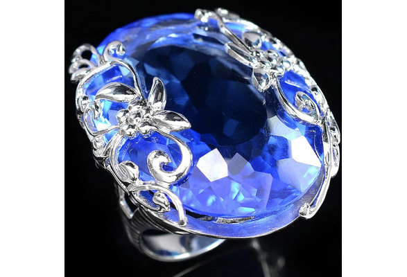 Beautiful Big Blue Sapphire Gemstones 925 Sterling Silver Wedding Engagement Ring