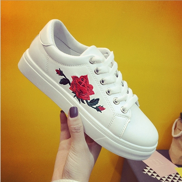 Picture of Casual Shoes Embroidered Women Casual Shoes Comfortable Lace Up Shoes