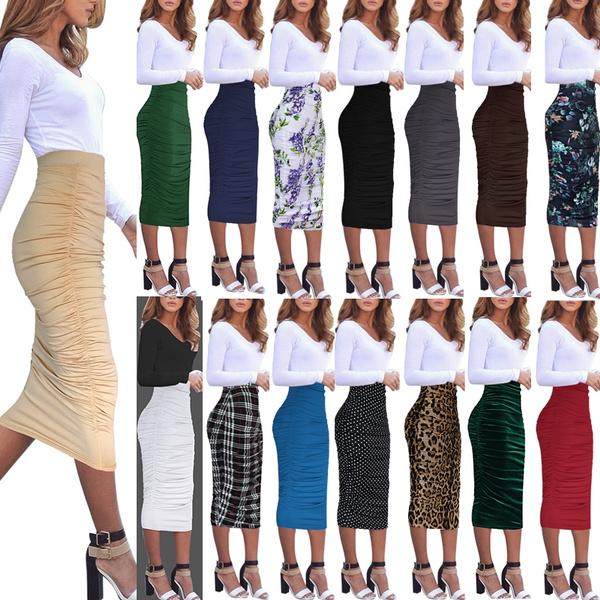 e4c62dea6d VfEmage Womens Elegant Ruched Draped Frill Ruffle High Waist Pencil Midi  Skirt