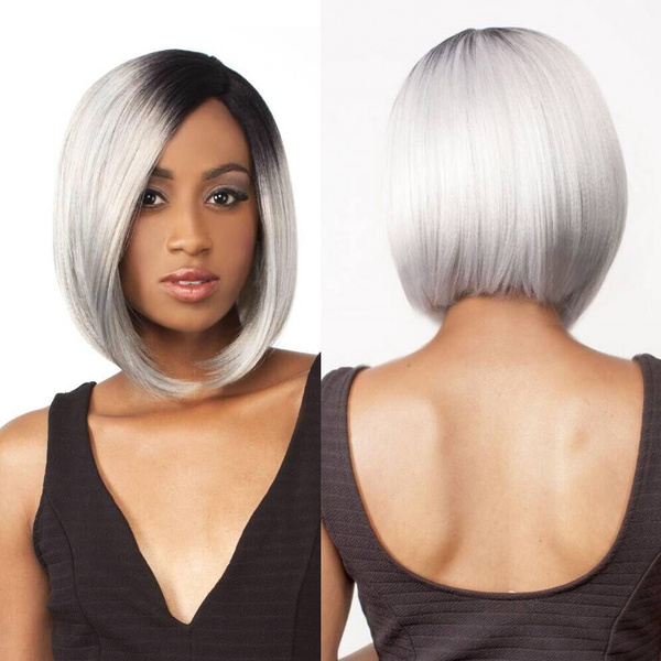Synthetic Dark Root Ombre Black / Gray Silver