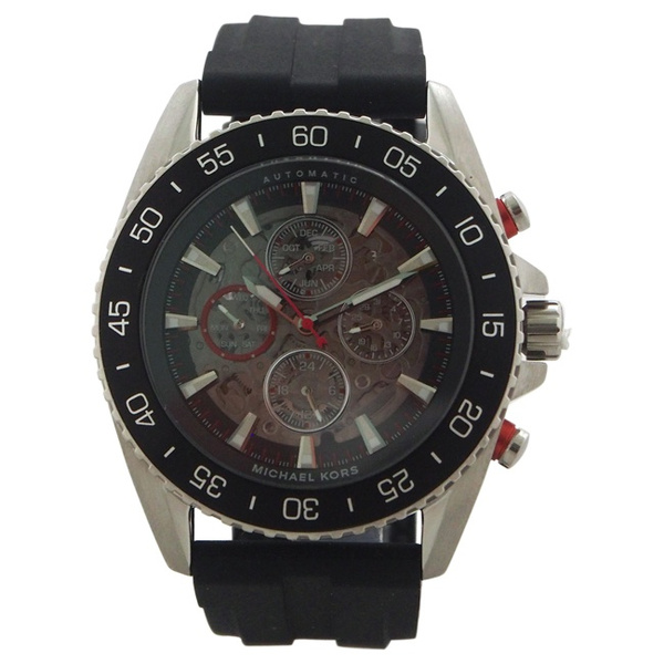 132732045825 MK9013 Automatic Chronograph JetMaster Black Silicone Strap Watch by ...