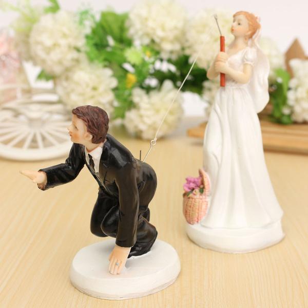Wish   FUNNY ROMANTIC WEDDING CAKE TOPPER FIGURE BRIDE GROOM COUPLE ...
