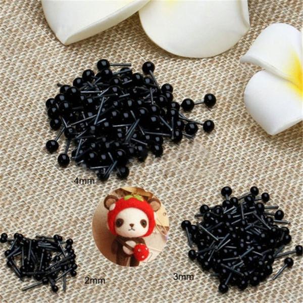 2-4mm 100pcs Black Plastic Eyes For Teddy Bear Dolls Toy Animal Felting
