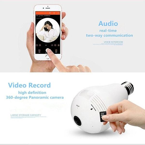360 Degree HD 1 3mp Panoramic WiFi IP Camera LED Bulb (IPC360 APP