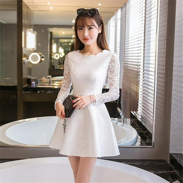 Spring Autumn Women Lace Casual Dress Long Sleeve Korean Party Dresses Vestido White Black Pink Mini Dress Robe Dentelle