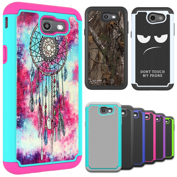 new product 0ac56 4dfe2 For Samsung Galaxy J7 2017 (US) / J7 Sky Pro / J7V Case Hard Silicone  Hybrid Shockproof Defender Protective Phone Cover