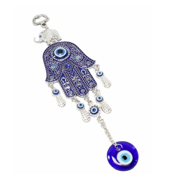 Turkish Blue Evil Eye Hamsa Hand Amulet Wall Protection Hanging