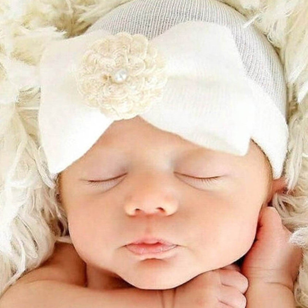 Cute Newborn Baby Infant Toddler Girls Bow Flower Soft Hospital Cap Beanie Hat