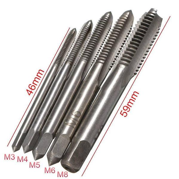 P/&N chrome Hand Tap set M5 X 0.8 RH Taper Intermediate Bottom//Plug 3 pcs