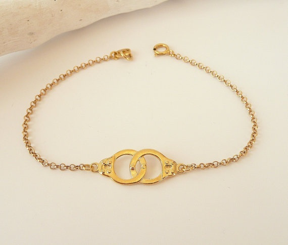 Wish Sterling Silver Handcuff Bracelet Partners In Crime Gold Thin Chain 925 Jewelry