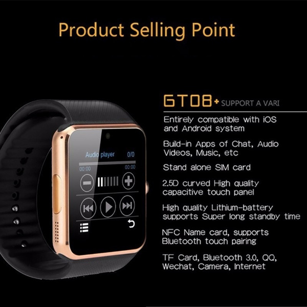 Picture of Gt08 Smart Watch Bluetooth 3.0 Sim Card Slot Push Message