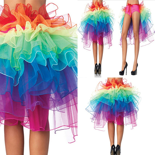 2bad26b33 Wish | HEHB Women Rainbow Neon RaRa Rave Party Dance Ruffle Tiered ...