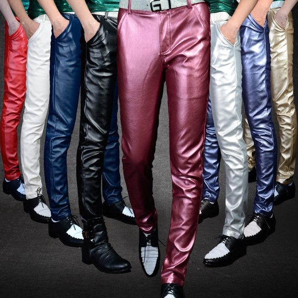 0d8f0259 men winter fashion skinny PU leather tight pants Stage performances ...