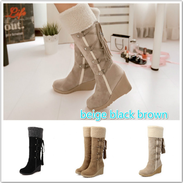 01d2ca3fd05 Gdgydh Fashion Scrub Plush Snow Boots Women Wedges Knee-high Slip-resistant  Boots Thermal Female Cotton-padded Shoes Warm Winter