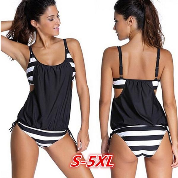 Top Wish | Women Stripes Swimwear Push Up Tankini Top Maillot De Bain  BG06