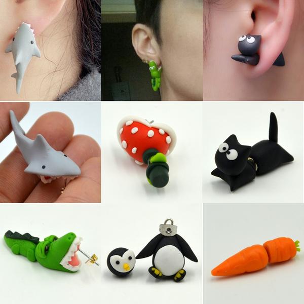 e9edb47b4 Handmade Polymer Clay Shark Crocodile Cat Piranha Stud Earrings For ...