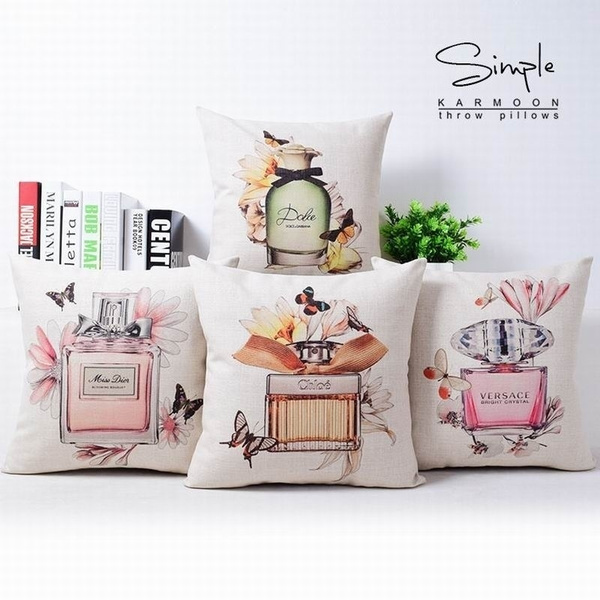 Picture of Fashion Cotton Linen Sofas Cars Waist Cushions Cover Decorative Perfume Bottle Illustration Throw Pillow Case Gifts
