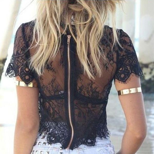 perspectiveblouse, Fashion, Lace, hollowoutblouse