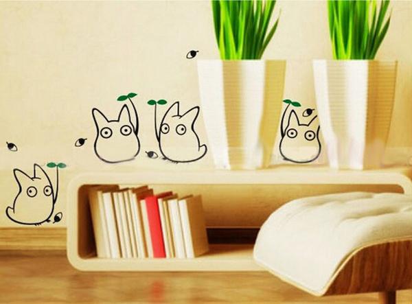 Wish   Totoro wall sticker kids bedroom decor Japanese cartoon ...