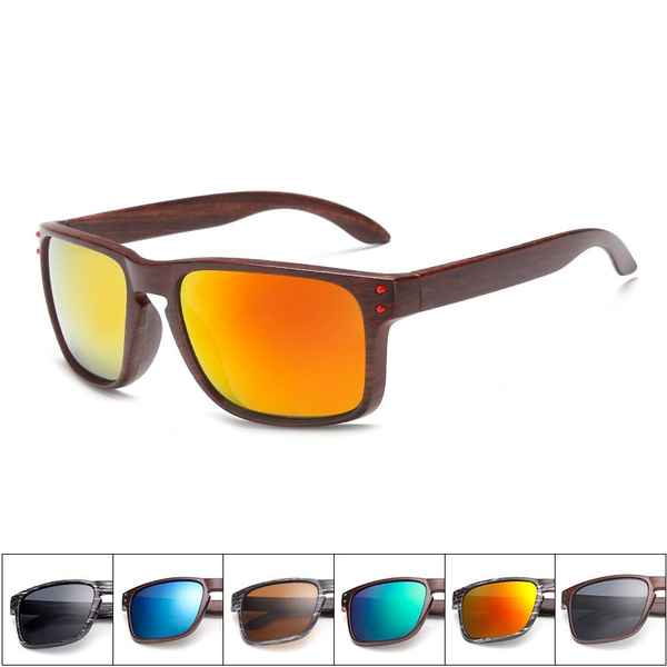 Picture of Wood Sunglasses Men Reflective Sports Sun Glasses Outdoors Square Eyewear