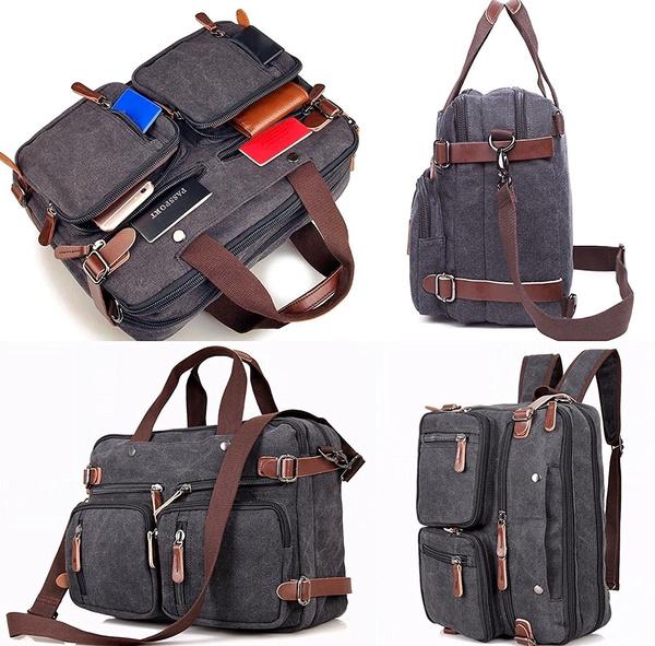 Vintage Laptop Hybrid Backpack Briefcase Convertible Backpack Messenger Bag Men Women Waxed Canvas Wish