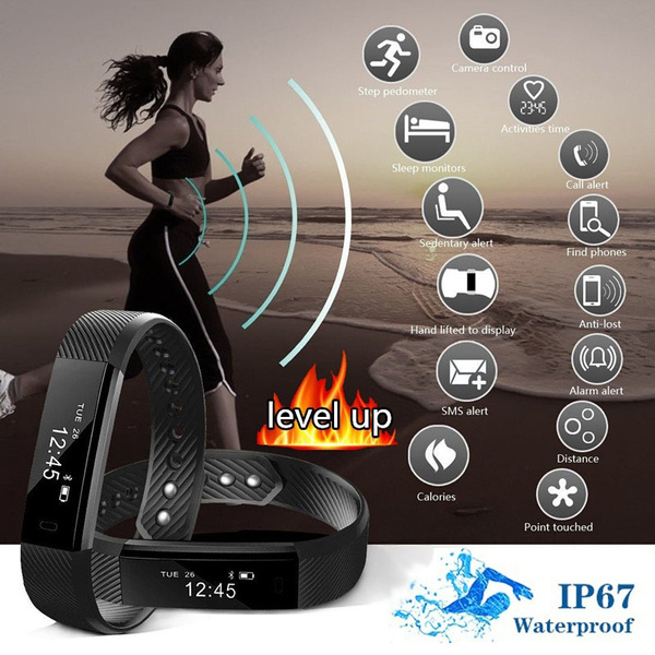 Picture of Smart Bluetooth Bracelet Information Push Call Prompts Sports Bracelet Pedometer Mileage Calorie Sleep Monitor Remote Camera 1.02.0