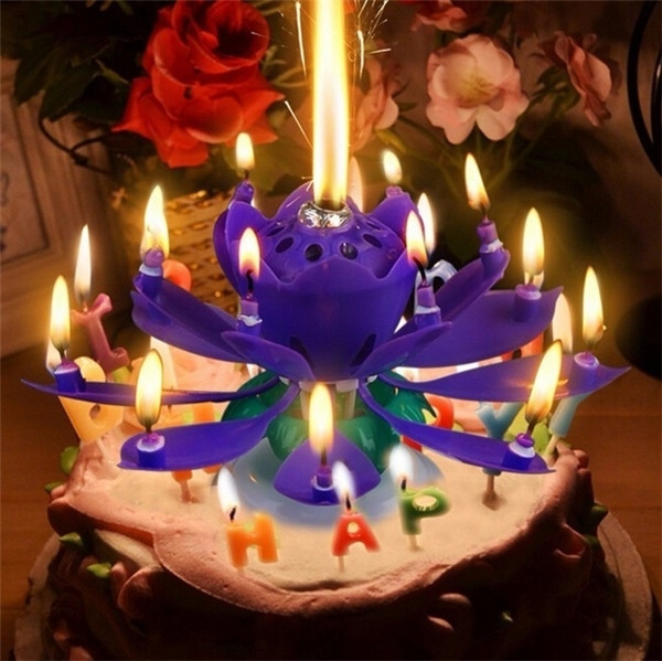 Wish Lotus Rotating Sparklers Happy Birthday Candle Party