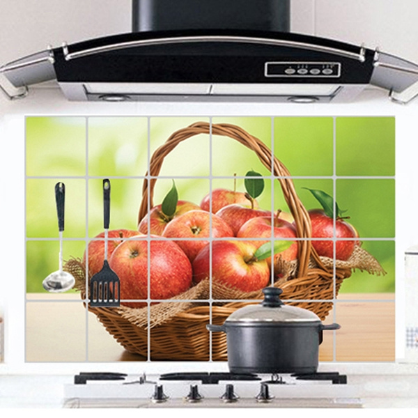 Wish | 3D Red Apple Basket PVC Waterproof Oil Proof Kitchen Wall Paper  Sticker Decor