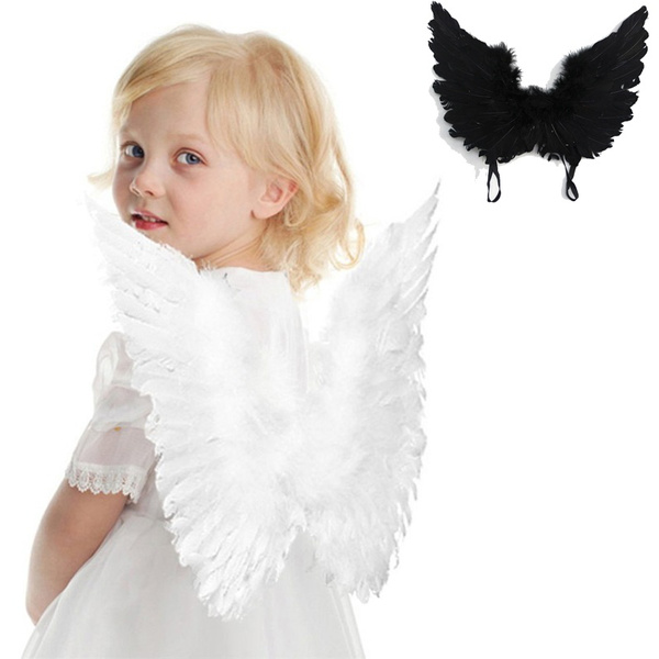 Adult Kids Black White Feather Angel Wings Adult Fairy Angel Wings Fancy Costume