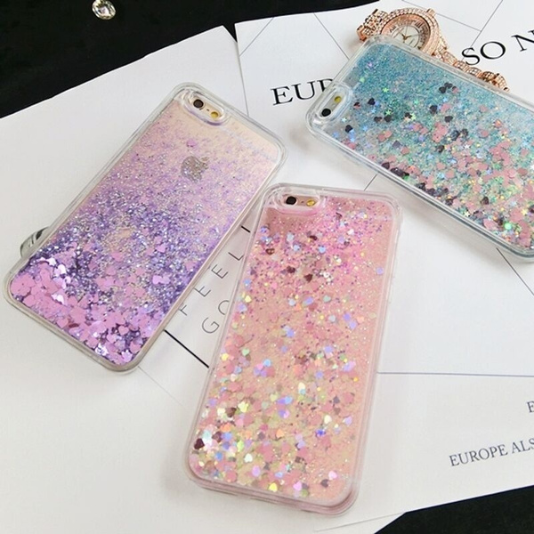 Love Heart Stars Glitter Stars Dynamic Liquid Quicksand Soft TPU Phone Back Cover Case For iPhone