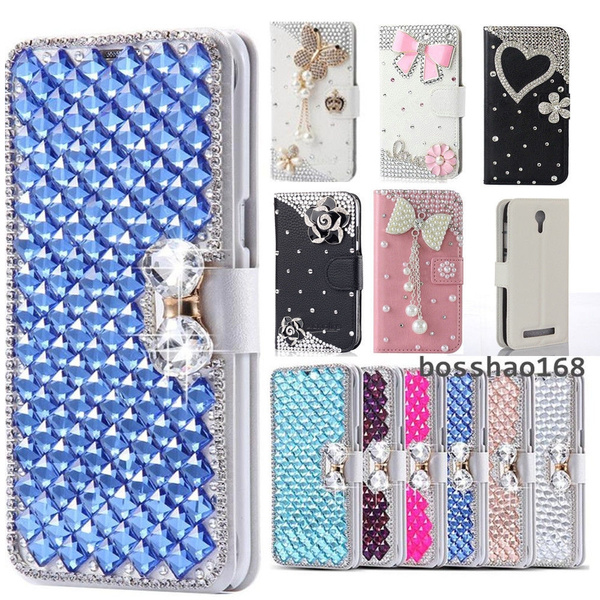 online store 6f913 1bd89 For Alcatel One Touch Pixi 4 6 inch 3G Bling handmade women fashion  Magnetic leather slots wallet cover skin case