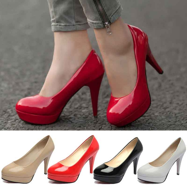Picture of Women Shoes Patent Leather High Heel Pumps Office Lady Fine With Pump Wedding Shoes