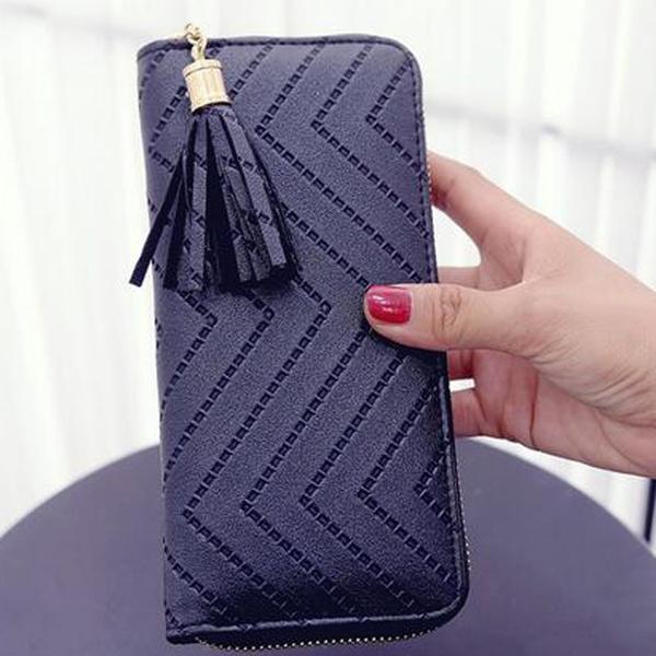 Picture of Women Lady Leather Card Holder Long Wallet Clutch Checkbook Tassel Handbag Purse