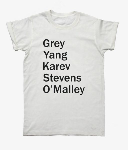 Wish | Grey Yang Karev Stevens O\'Mally Graphic Tee Grey\'s Anatomy T ...