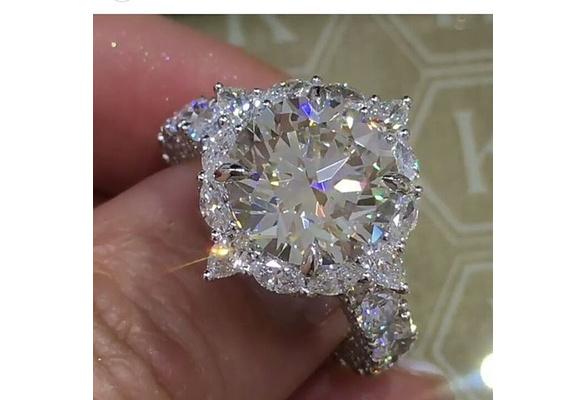Dazzling Brand Jewelry 925 Sterling Silver Natural Gemstone White Sapphire Birthstone Bride Engagement Wedding Ring