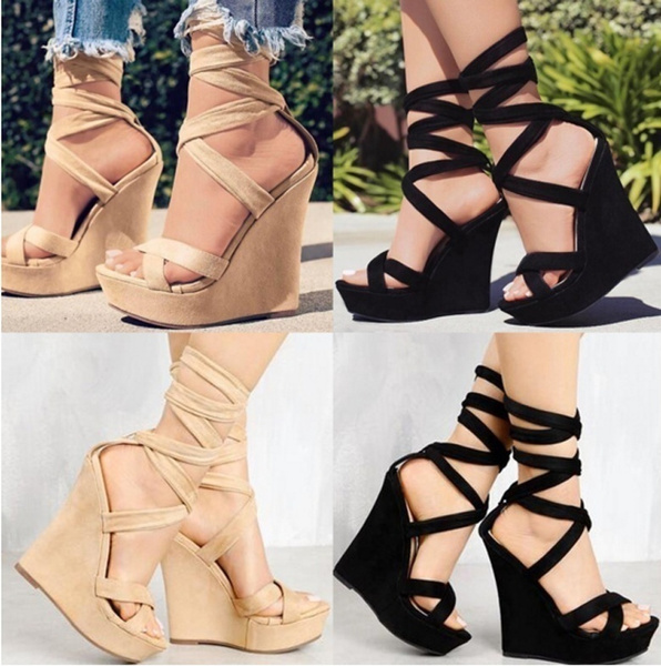 Picture of Women High-heeled Casual Sexy Summer High Waterproof Platform Slope Shoes Sandals