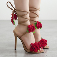 Summer, Flowers, Lace, Womens Shoes