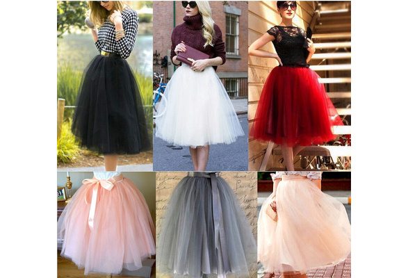 Womens Princess Ballet Tulle Tutu Skirt Wedding Party Evening Cocktail Prom Ball gown Mini Dress