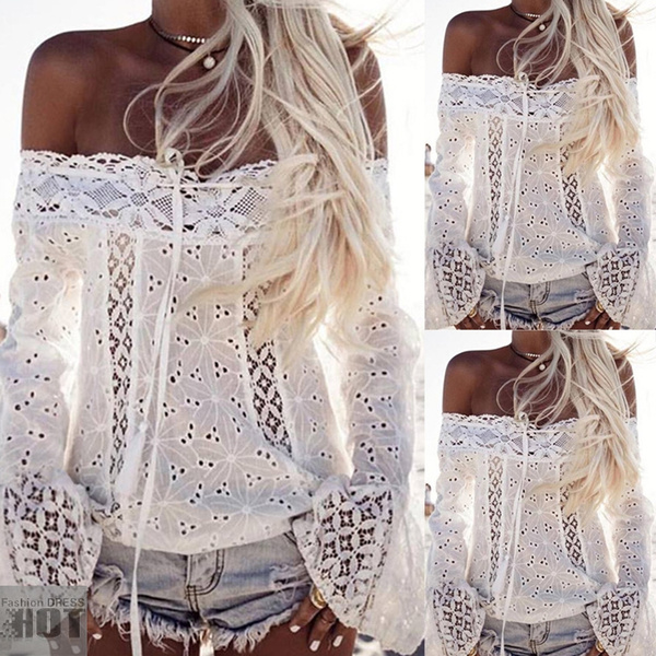 30fe06078ff1d2 Summer Women Sexy White Embroidery Lace Crop Top Plus Size Clubwear ...