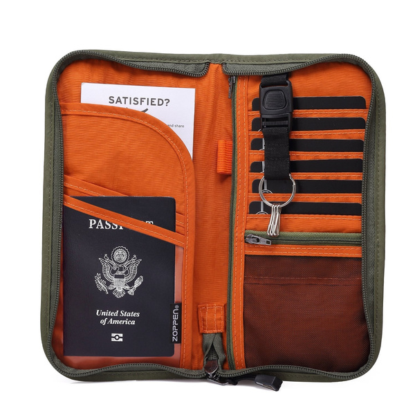 75eb954edfd8 Zoppen RFID Travel Wallet & Documents Organizer Zipper Case, Family  Passports Holder with Removable Wristlet Strap